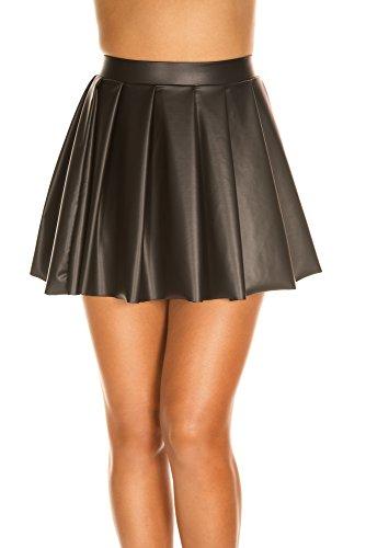 MUSIC LEGS Women's Wet Look High Waisted Full Pleated Skirt, Black, Small
