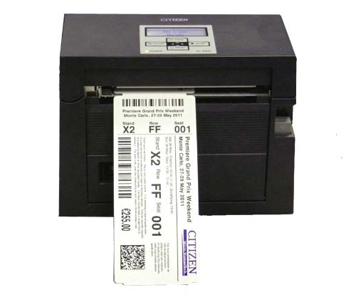 Citizen CL-S400 Direct Thermal Ticket/Label Printer - Serial and USB Interface, 120V, Internal Power Supply, 203 DPI, Cutter, Black (Ticket Maker compare prices)
