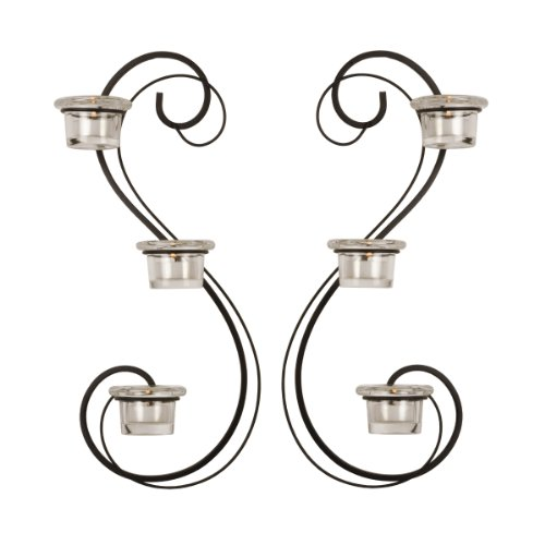 Mikasa 3-Light Double Swirl Sconces, 7-Inch By 17-Inch, Set Of 2