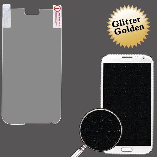 Cell Accessories For Less (Tm) Samsung Galaxy Note Ii (T889/I605/N7100) Glitter Lcd Screen Protector/Golden + Bundle (Stylus & Micro Cleaning Cloth) - By Thetargetbuys
