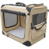 """EliteField Beige 30"""" 3-Door Soft Dog Crate, 30"""" long x 21"""" wide x 24"""" high, 5-size & 3-color Metal Crates, 4-size & 4-color Soft Crates, 5-size Metal Pens, 3-size Soft Pens"""