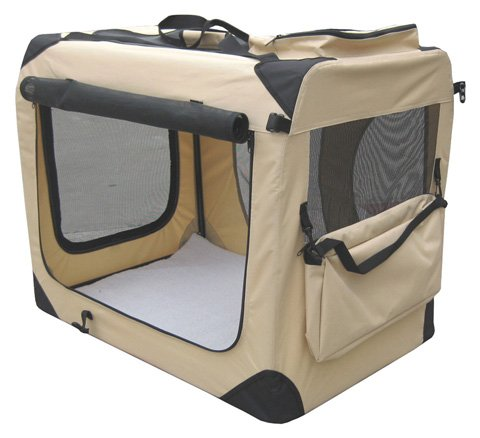 """Elitefield Beige 30"""" 3-Door Soft Dog Crate, 30"""" Long X 21"""" Wide X 24"""" High, 5-Size & 3-Color Metal Crates, 4-Size & 4-Color Soft Crates, 5-Size Metal Pens, 3-Size Soft Pens front-42519"""