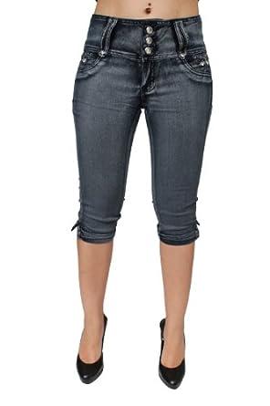 High Waist Butt Lift Colombian Style Capri Jeans 2 Colors Diamante DJ1-C-C577 (7, Blue)