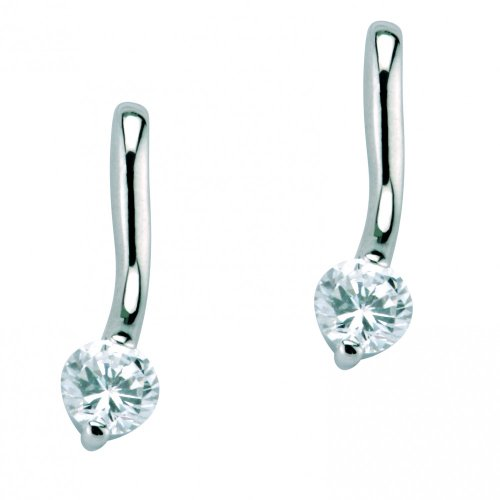 925 Sterling Silver Rhodium Plated Drop Fashion earring with a White gem 3415