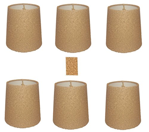 upgradelights-natural-cork-chandelier-lamp-shade-set-of-six-shades-5-inch-retro-drum-clips-onto-bulb