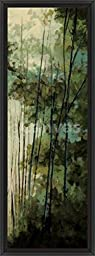14in x 38in La Senda I by Luis Solis - Black Floater Framed Canvas w/ BRUSHSTROKES
