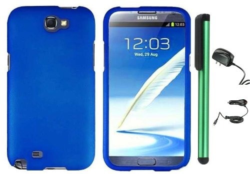 =>>  Blue Design Protector Hard Cover Case for Samsung Galaxy Note II N7100 (AT&T, Verizon, T-Mobile, Sprint, U.S. Cellular) Android Smart Phone + Luxmo Brand Travel (Wall) Charger & Car Charger + Combination 1 of New Metal Stylus Touch Screen Pen (4