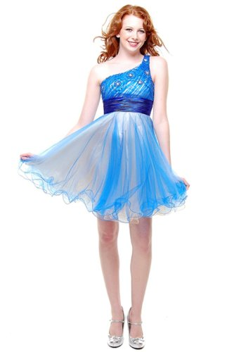 Cocktail Party Junior Prom One Sholder Dress #658 (4, Royal Blue)