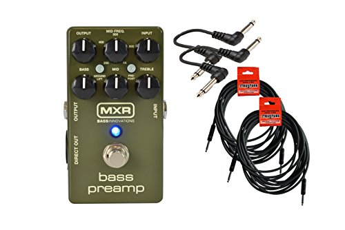 MXR M81 Bass Preamp Cable Bundle w/ 4 free Items: 2x 18.6' Strukture Cables, 2x Hosa Patch Cables
