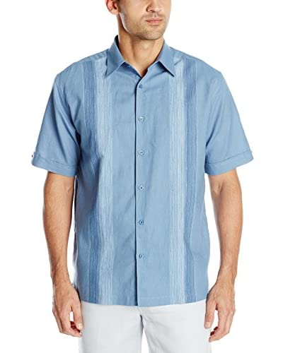 Cubavera Men's Short Sleeve Yarn Dyed Look Panel Shirt
