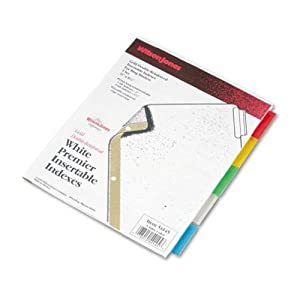 Wilson Jones Insertable Dividers - Gold Line, 5-Tab Set, Multicolor Tabs on White Paper (W54145A)