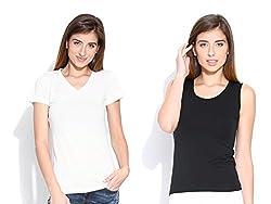 Happy Hippie Women's Combo T-shirt White-Black