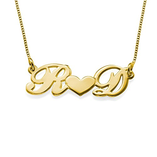 Personalized Couples Heart Necklace- Custom Made With 2 Initials! (14K Solid Gold, 18 Inches)