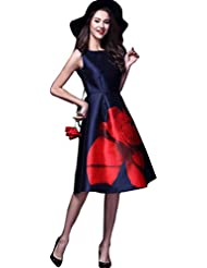 Zombom Women's Navy Blue Tapeta Silk Floral Printing Boat Neck Sleeveless Midi Dress