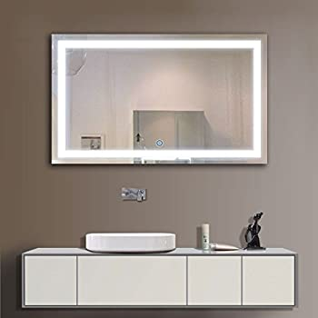 DECORAPORT 40 Inch 24 Inch Horizontal LED Wall Mounted Lighted Vanity Bathroom Silvered Mirror with Touch Button (A-CK010-G)