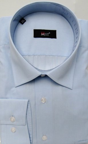 MUGA mens shirts for Casual and Formal, Light Blue, Size L