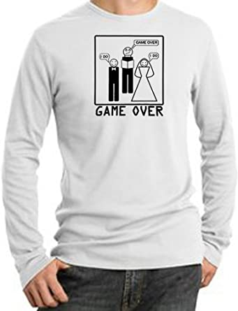 Game Over MARRIAGE CEREMONY BLACK Funny Bride Groom Adult Long Sleeve Thermal Tee T-Shirt - White, Large