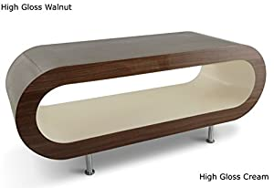 Large retro high gloss walnut and cream 110cm hoop coffee for Large cream coffee table