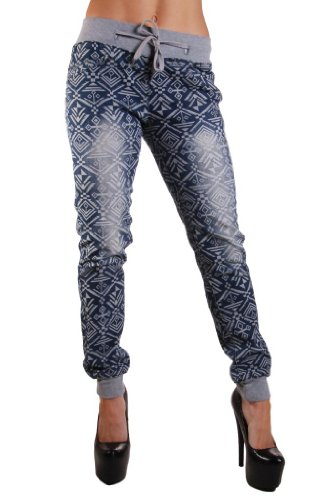 Unleaded Women's Aztec Print Denim Jogger w/Knit Waistband and Cuff 13 Blue