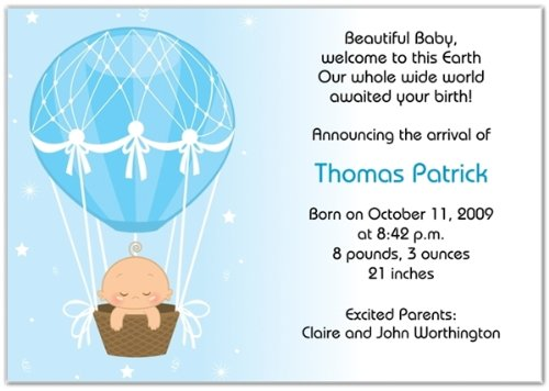 Hot Air Balloon Baby Boy Birth Announcements - Set Of 20 front-976431