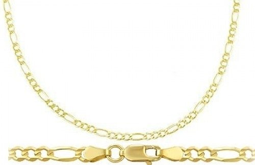 14k Yellow Gold Bracelet Figaro Link Solid Mens Womens 2.5mm 7 inches