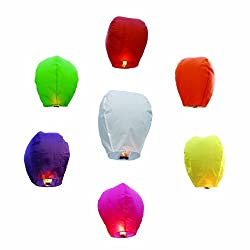 GGI INTERNATIONAL Chinese Sky Fly Fire Lanterns, Multi Color, 20-Piece
