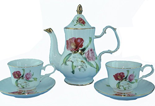 Green Pastures Wholesale Wild Flower Porcelain Tea Set, 9-Inch By 10-Inch
