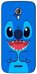 Snoogg cute blue inface Designer Protective Back Case Cover For Micromax A117