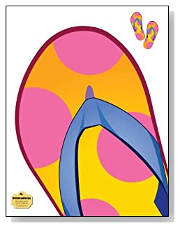 Colorful Flip Flop Notebook - Fun summer-themed gift idea! A large colorful flip flop stomps the cover of this blank and wide ruled notebook with blank pages on the left and lined pages on the right.