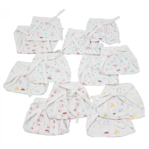 BabyNeeds Cotton Cloth Nappies 12pcs Set - Printed, L