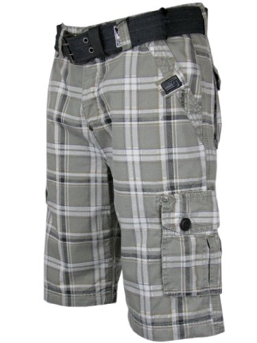 Mens Cargo Shorts Grey Check Print With Free Belt