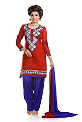 Ethnic For You Women's Cotton Salwar Suit Dress Material(ETH5203_Red)
