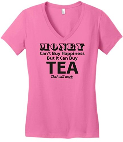 Money Can'T Buy Happiness But It Can Buy Tea Juniors V-Neck Large True Pink