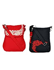 Combo Of Red Sling Bag With Silver Embroidery With Black Small Sling Bag