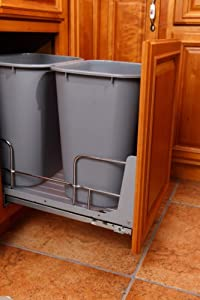 """18"""" Magicglide Base Hands-free Cabinet Trash Can"""
