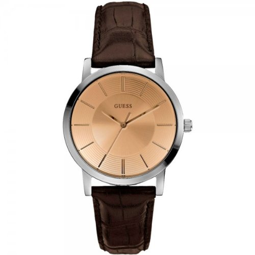 Guess W0191G2 - Reloj con correa de policarbonato para hombre, color marrón / gris