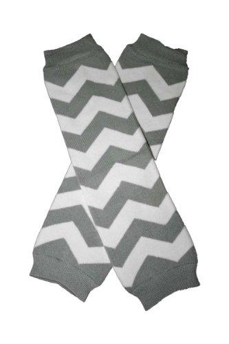 Chevron Light Gray & White Zig Zag Baby Sweet Leggings/Leggies/Leg Warmers - Bububibi front-913695