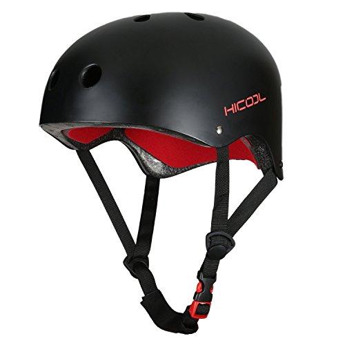 Hicool Fahrrad Helm Skate BMX Fahrrad Bike Helm Skifahren Skateboard Outdoor Sports-Schwarz
