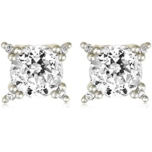 "Platinum Plated Sterling Silver ""100 Facets Collection"" Round Cubic Zirconia Four-Prong Stud Earrings"