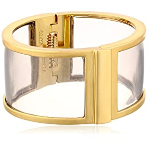 Vince Camuto Womens Lucid Dreams Resin Hinge Bracelet Brushed Gold/Light Grey Transparent Resin One Size