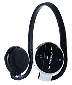 MiiKey MiiSport Black Wireless Bluetooth 4.0  Headphone with Microphone ,Built-in MP3 player,Supports Micro SD ,Sweat-proof and HD Audio