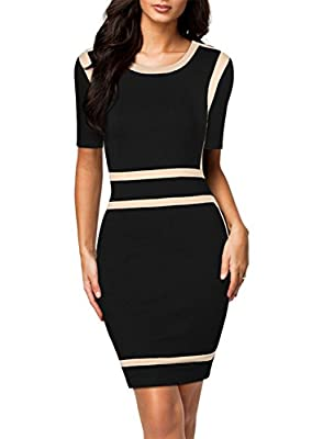 Miusol® Women's Scoop Neck Optical Illusion Business Bodycon Dress