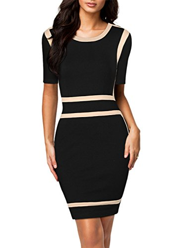 Miusol Women's Scoop Neck Optical Illusion Busniess Bodycon Dress, Black, Medium
