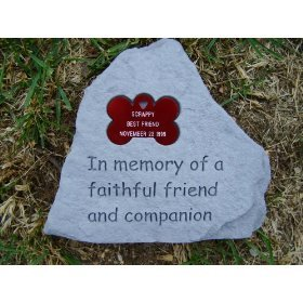 Pet Memorial Stone with Engraved Bone Tag-Deluxe