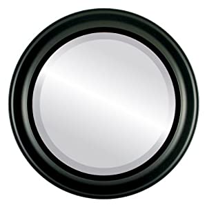 Simple Wood Round Beveled Wall Mirror In A