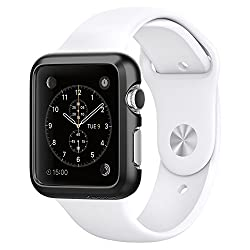Spigen Apple Watch (SERIES 1) Case/cover   (APPLE WATCH NOT INCLUDED) (42mm) (BIGGER VERSION) Thin Fit (Smooth Black) SGP11498