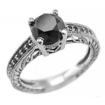 2.45ct Black Diamond Engagement Ring Antique
