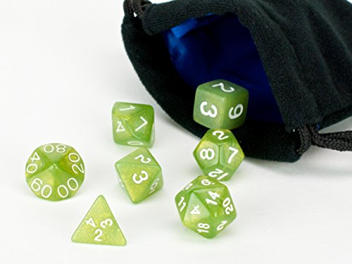Chartreuse Polyhedral Dice Set | 7 Piece | PRISTINE Edition | FREE Carrying Bag | Hand Checked Quality With | Money Back Guarantee