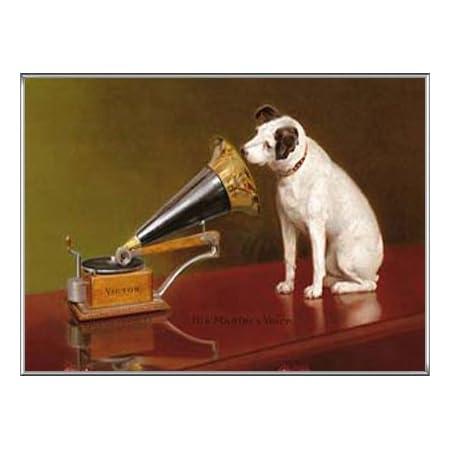 ポスター フランシス バラウド His Master\\\\\\\\\\\\\\\'s Voice Advertisement ビクター 額装品 アルミ製ハイグレードフレーム(シルバー)