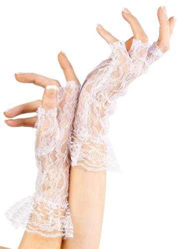 Fever Women's Fingerless Lace Gloves In Display Pack, White, One Size